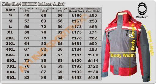 standar ukuran jaket otrahum WB-02 H